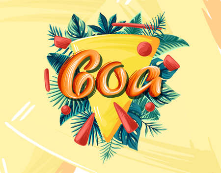 Goa Advertising emblem with type design and tropical flowers and plants 免版税图像 - 143386721