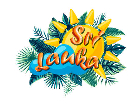Sri Lanka Advertising emblem with type design and tropical flowers and plants 免版税图像 - 143386703