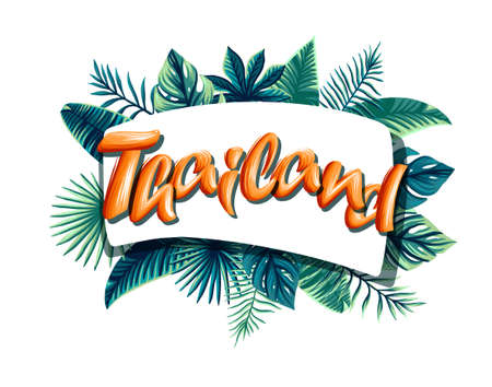 thailand Advertising emblem with type design and tropical flowers and plants