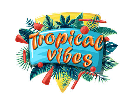 Green summer tropical background with exotic palm leaves and plants. Vector floral background. Tropical vibes