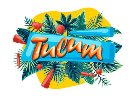 Tulum Advertising emblem with type design and tropical flowers and plants 矢量图像