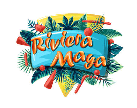 Riviera Maya Advertising emblem with type design and tropical flowers and plants