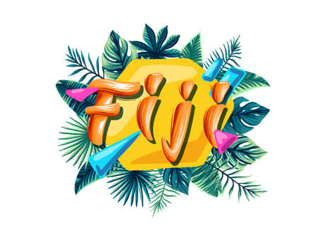 Fiji Advertising emblem with type design and tropical flowers and plants