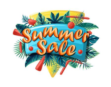 Sale banner, poster with palm leaves, jungle leaf and lettering Sale. Floral tropical summer background. Vector illustration 矢量图像