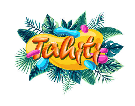 Tahiti Advertising emblem with type design and tropical flowers and plants 免版税图像 - 143386777