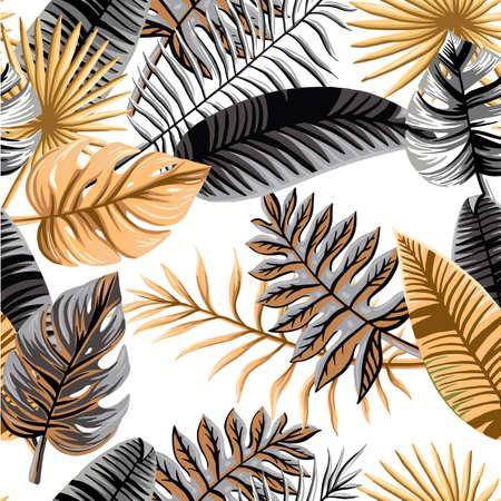 Seamless tropical pattern. Palm leaves illustration. Gold, gray,white black palm leaf 矢量图像
