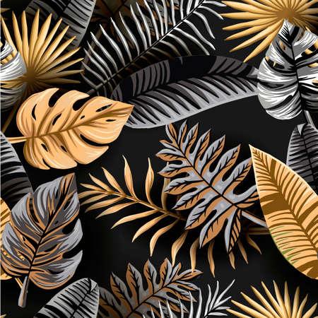 Seamless tropical pattern. Palm leaves illustration. Gold, gray, black palm leaf