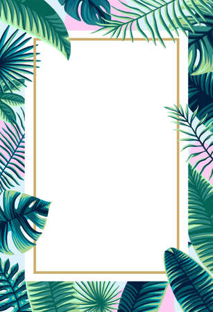 Trendy Summer Tropical design Vector Leaf banner made of palm tree green background and place for text 矢量图像