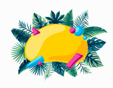 Summer trendy Tropical Design Vector Leaves bright composed for inscription summer Sale promotion banner 免版税图像 - 143127963