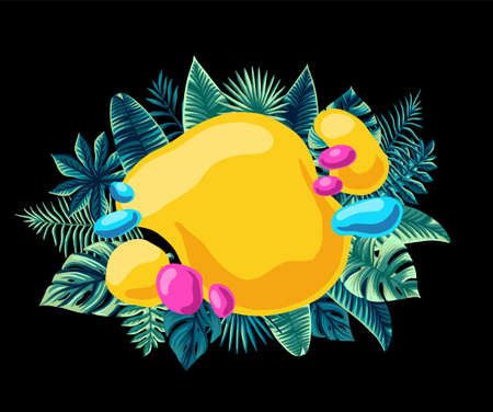 Summer trendy Tropical Design Vector Leaves bright composed for inscription