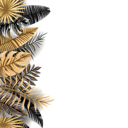 Vector banner with black and gold tropical leaves on a dark background. the leaves of the palm trees and exotic plants white