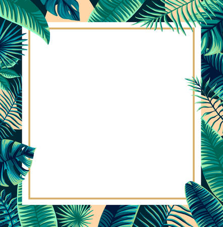 Trendy Summer Tropical design Vector Leaf banner made of palm tree green background and place for text Illustration