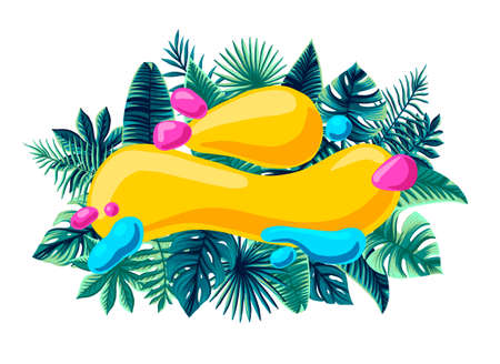 Summer trendy Tropical Design Vector Leaves bright composed for inscription summer Sale promotion banner 免版税图像 - 143386735