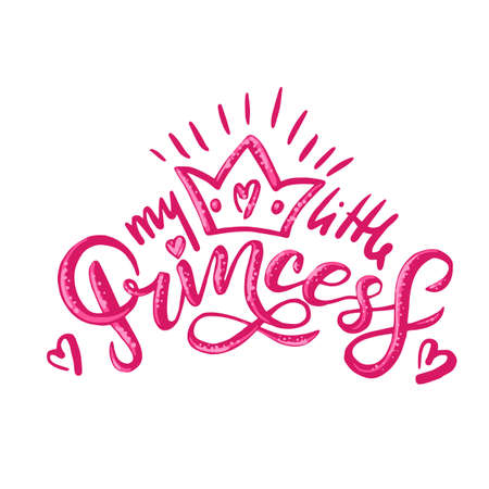 My little Princess calligraphy lettering for an invitation, greeting card or greeting card to print on children's clothing 矢量图像