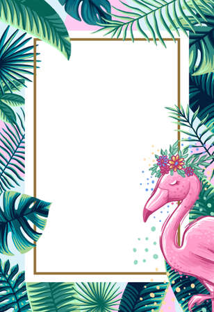Tropical Flowers and Flamingo Summer Banner, Graphic Background, Exotic Floral Invitation, Flyer or Card. Modern Front Page in Vector 免版税图像 - 143386776