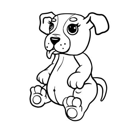 Cartoon puppy, vector illustration of a cute dog, coloring book page for children 免版税图像 - 143357518