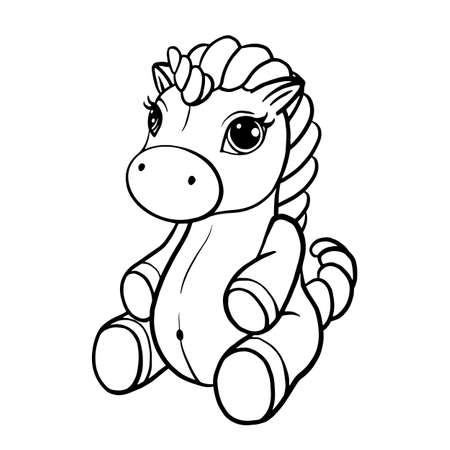 Vector illustration of a cute horse, pony with a magnificent mane and tail, coloring book page for children cut ploter