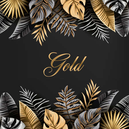Vector banner with black and gold tropical leaves on a dark background. the leaves of the palm trees and exotic plants