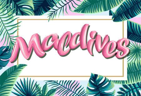 Maldives tropical leaves bright banner orange letters Illustration