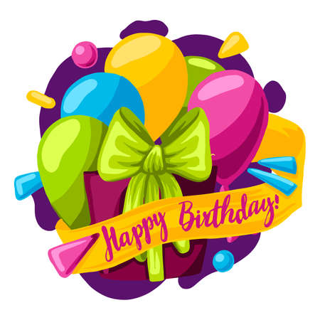 Happy Birthday typography vector design for greeting cards and poster with balloon, confetti and gift box, design template for birthday celebration. 免版税图像 - 143994313