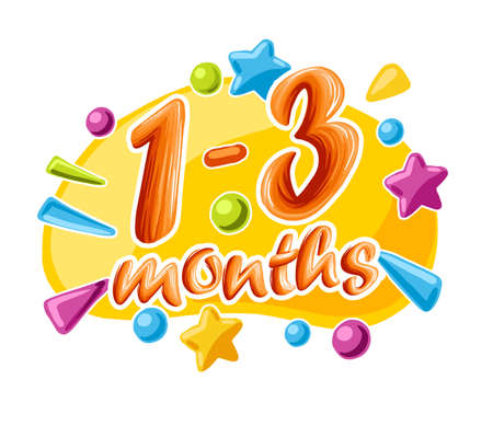1-3 months old baby colorful numbers, vector illustration growth by month 向量圖像