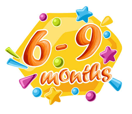 6-9 months old baby colorful numbers, vector illustration growth by month 向量圖像