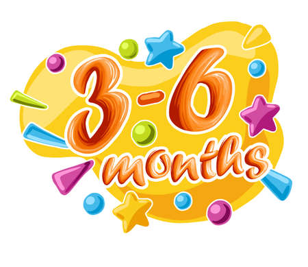 3-6 months old baby colorful numbers, vector illustration