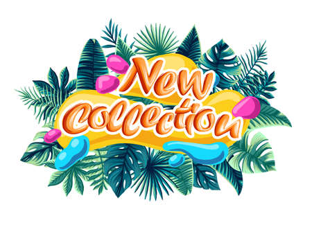 new collection of advertising backgrounds. A trendy art template for a new collection of signage or advertising banner design. tropical leaves sonce summer background 免版税图像 - 144305107