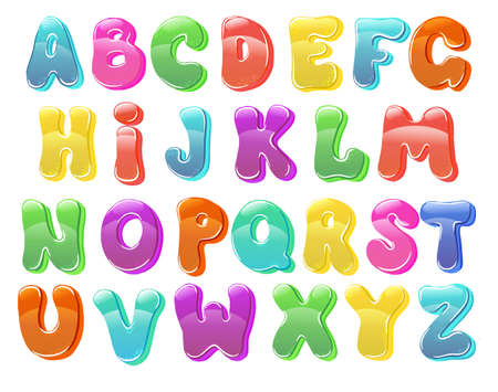 Children's font in the cartoon Set of multicolored bright letters for inscriptions. Vector illustration of an alphabet. 免版税图像 - 144356950