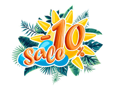 Sale. Tropical flowers, leaves and plants. the discount on the product Illustration