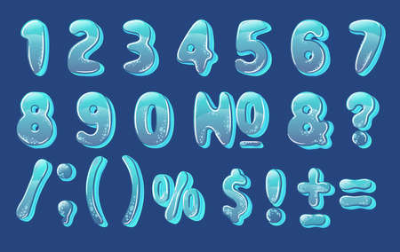 colorful alphabet numbers, blue on a blue background with bubbles, vector number illustration Illustration