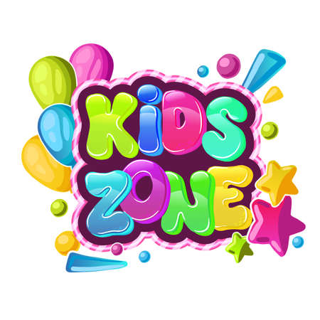 Kids Zone. Children Playground Area. colorful lettering, Illustration