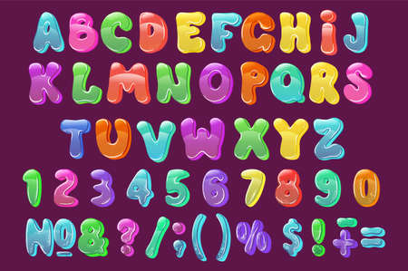 Childrens font in the cartoon style. bright letters for inscriptions. Illustration