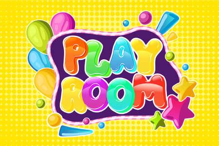 Playroom kids logo. Vector cartoon isolated fun