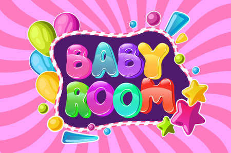 Baby room Children Playground Area. colorful lettering,
