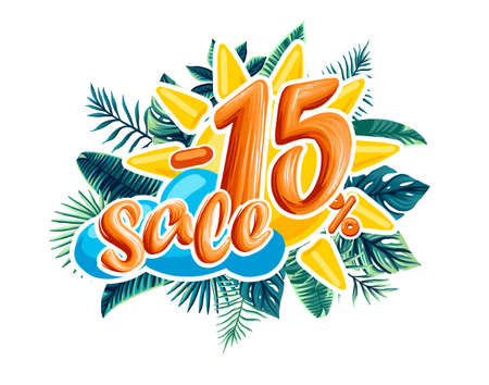 Sale. Tropical flowers, leaves and plants. the discount on the product 免版税图像 - 145685353