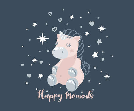 Unicorn sleeps, happy moments of inscription in calligraphic font, a colorful cartoon character. Blue background with stars and heart. Cute little pony, for girls design, girls kids print, games, books, poster