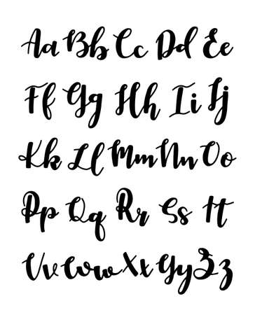 Hand drawn typeface set isolated on white. Brush painted characters: lowercase and uppercase. Vector logo font. Typography alphabet for your designs: logo, typeface, card, wedding invitation.