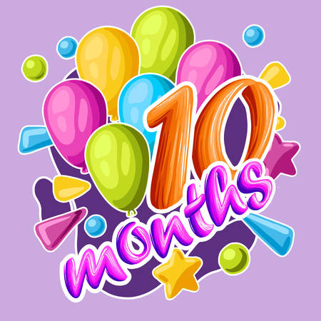 Decorative sticker to the 10-month baby. For the family album design and decoration of photos. vector illustration