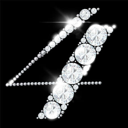 diamond numbers from rock crystal alphabet on a black background 免版税图像 - 158097022