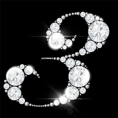 diamond numbers from rock crystal alphabet on a black background 免版税图像