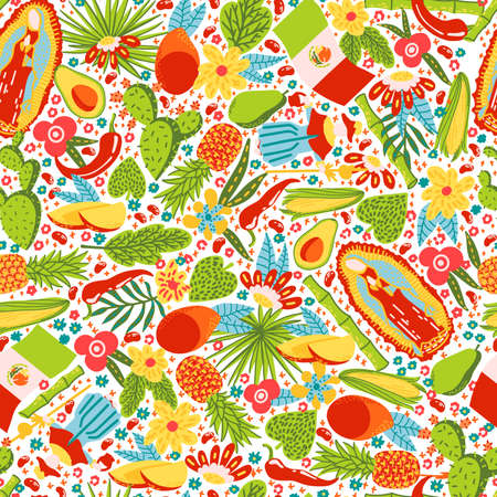 Mexican characters seamless texture pattern