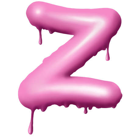 dripping pink paint on letters, alphabet 3D 版權商用圖片