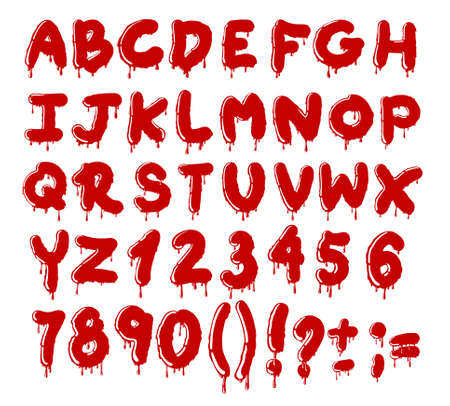 Letters of the alphabet in bloody fontstyle on a white background