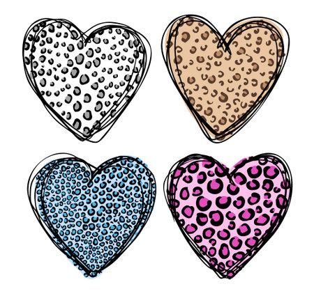 Leopard skin in shape of heart. Trendy animal print.