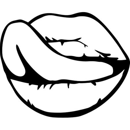 Open Mouth with Red Lips Biting. womens mouth. Vector