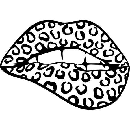 Open Mouth with Red Lips Biting. womens mouth. Vector leopards