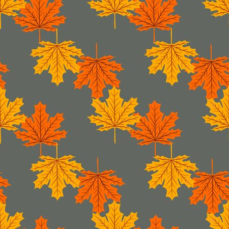 Autumn seamless leaf fall pattern with maple colorful leaves. Design for fall season posters, wrapping papers and holidays decorations. Vector illustration Иллюстрация