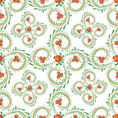 Vector red and yellow swirls and berries seamless pattern