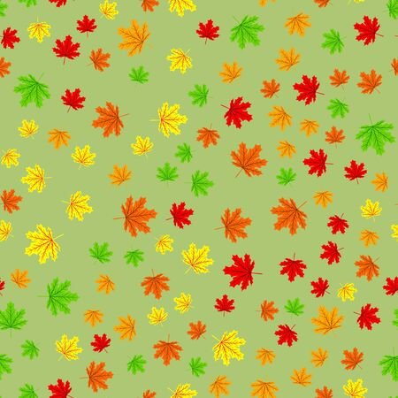 Seamless forest pattern with acorns and autumn leaves. Fall background. Vector pattern leaf